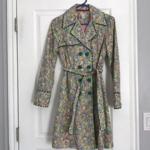 Anthro Odille floral trench